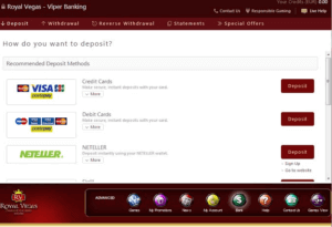 royal vegas online casino banking options for AU players